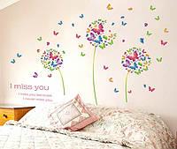 Наклейка виниловая Одуванчики с бабочками, фото 1