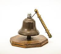 Настольный вызывной колокол, настольный звонок, бронза, дерево, Англия, фото 1
