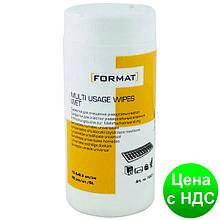 Салфетки для очистки универсальные Format, влажные, 80 шт, круглая туба F72651