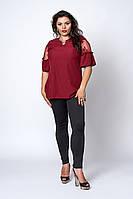 Стильная женская блузка  бордового цвета, фото 1