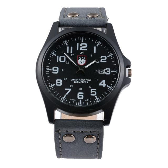 Чоловічі військові годинник чорний корпус і чорний ремінець