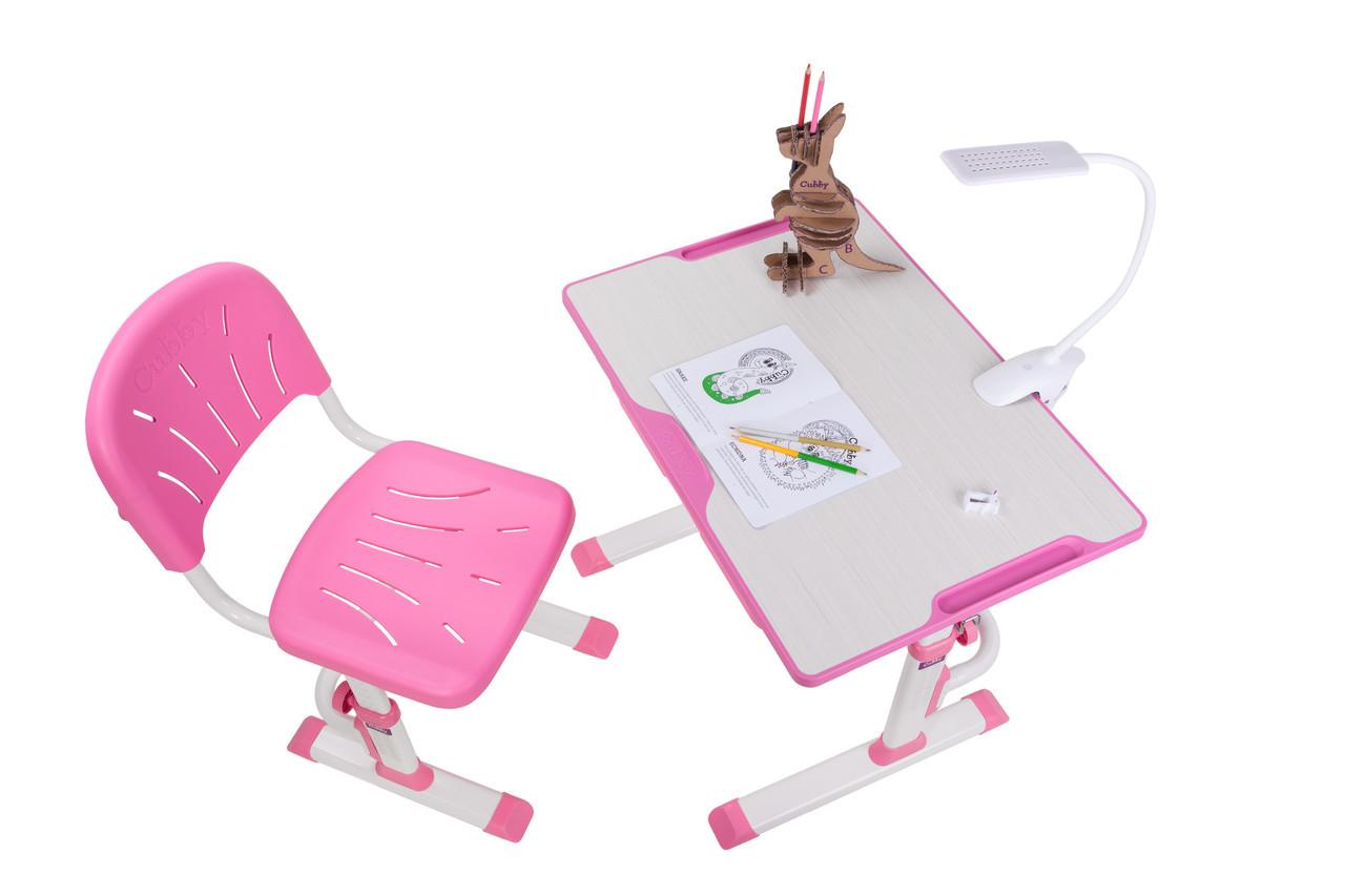 Зростаюча дитяча парта зі стільчиком Cubby Lupin Pink