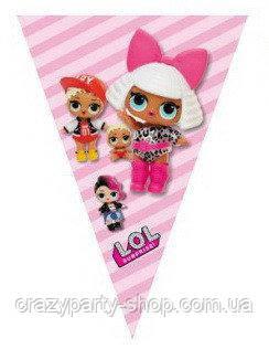 Гирлянда-треугольники Куклы-сюрприз  Лол LOL розовая