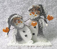 "Декорация новогодняя из дерева на подставке ""Два Снеговика"""