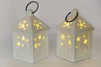 Подвесной фарфоровый декор Домик с LED подсветкой 6см, цвет - белый