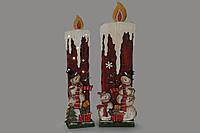 Декоративное деревянное панно 50см с мини LED-подсветкой Свеча на батарейках (2хАА)