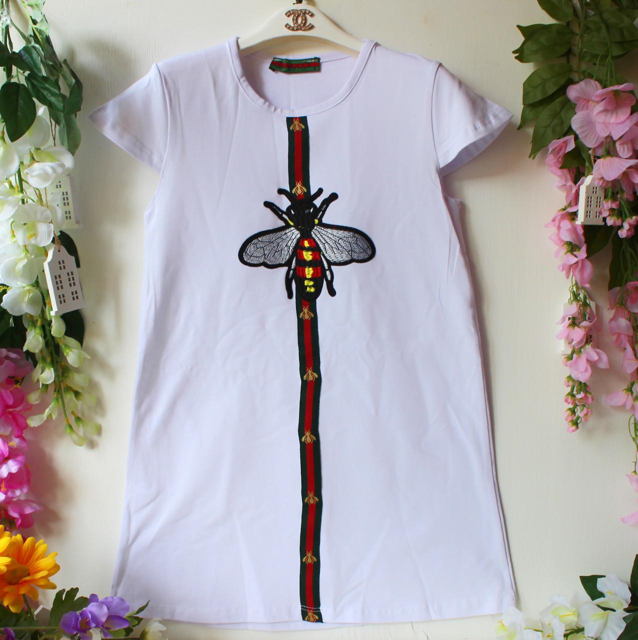 Детское платье в стиле gucci декорировано аппликацией, р-ры на 9, 10, 11, 12  лет белое арт 6205-1