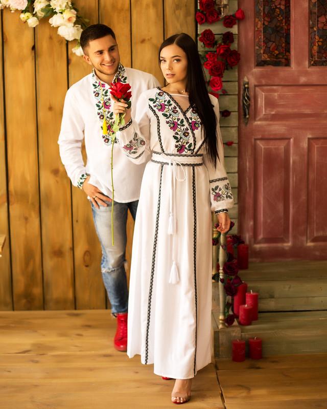 Вышиванки для пары платье и рубашка Мавка