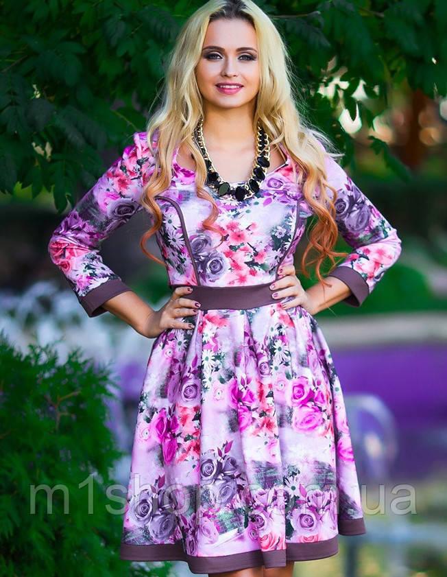 Трикотажное расклешенное платье с цветочным принтом (0532 svt)