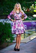 Трикотажное расклешенное платье с цветочным принтом (0532 svt), фото 2