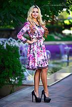 Трикотажное расклешенное платье с цветочным принтом (0532 svt), фото 3