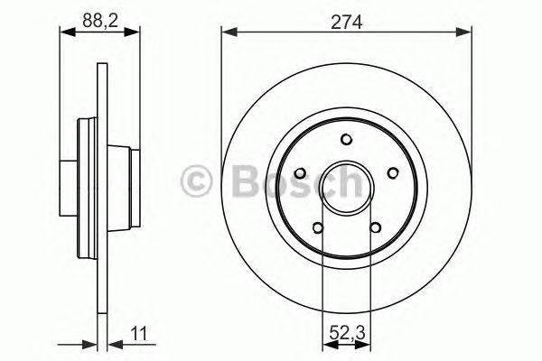 Диск тормозной RENAULT KANGOO 1.5DCI 1.6 08- задн. (пр-во Bosch), фото 2