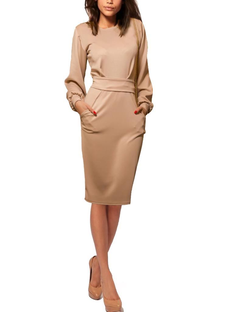 4b217c12cb3947b Бежевое платье с рукавами - фонариками, с длинным поясом - Интернет магазин  одежды EuroFashion в