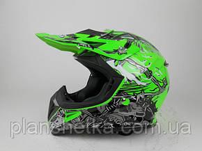 Шлем для мотоцикла Hel-Met 116 кроссовый Neon Yellow, фото 2
