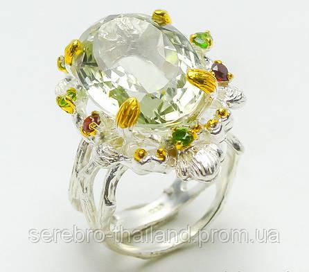 Серебряное кольцо ручной работы 925 пробы с натуральным зеленым аметистом, гранатом, хромдиопсидом Размер 18,5