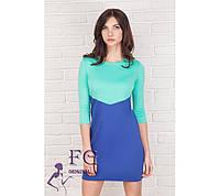"""Двухцветное платье """"Лаура"""". Распродажа модели электрик+мята, 42"""