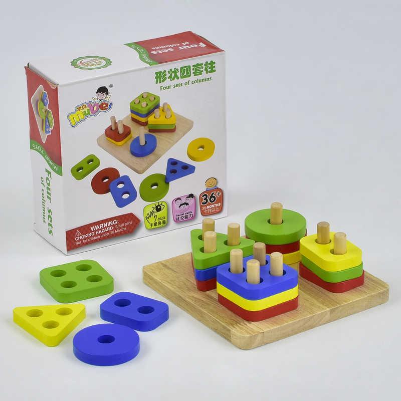 Деревянная игрушка пирамидка - геометрические фигуры, Видеообзор 36069 29677