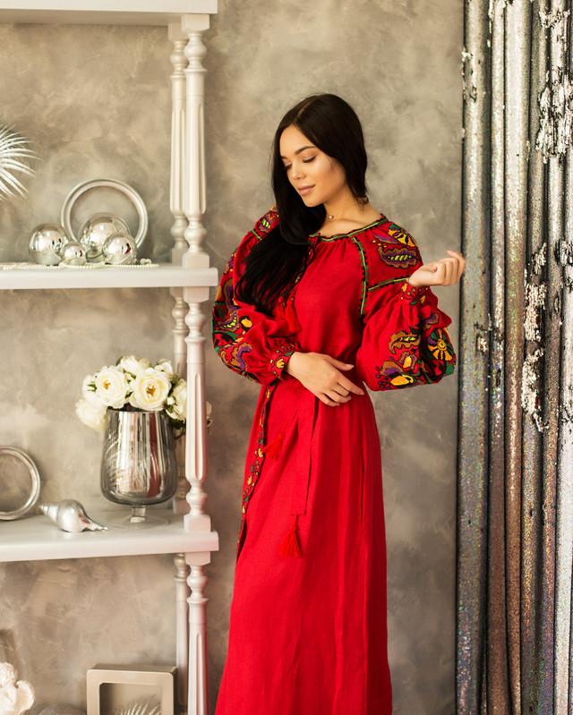Длинное платье вышиванка из льна Колорит красное e8a5a64f44c9e