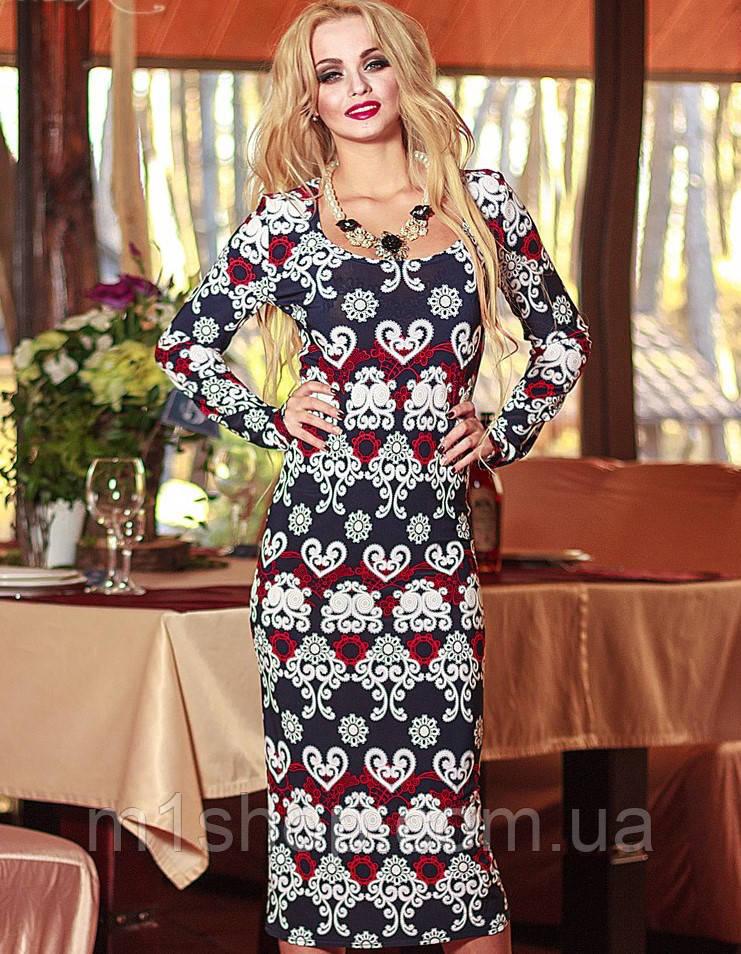 Трикотажное облегающее платье миди с узором (0571-0572 svt)