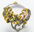 Серебряное кольцо ручной работы 925 пробы с натуральным розовым кварцем Размер 19