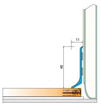 Плинтус алюминиевый 40мм / б.п. L-2.7 мп, фото 2
