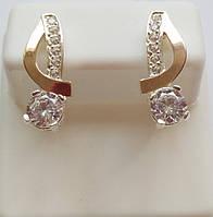 Серебряные серьги Нота с золотом и камнями , фото 1