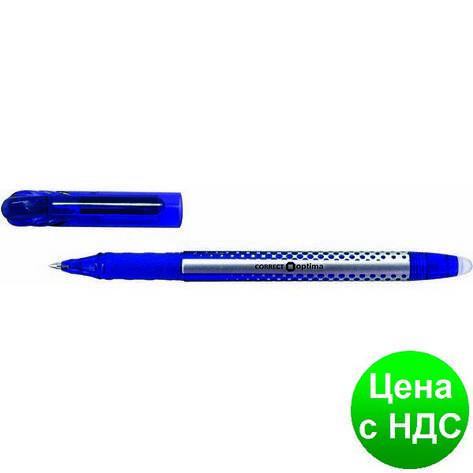 Ручка шариковая пиши-стирай OPTIMA CORRECT 0,5 мм, пишет синим O15338-02, фото 2