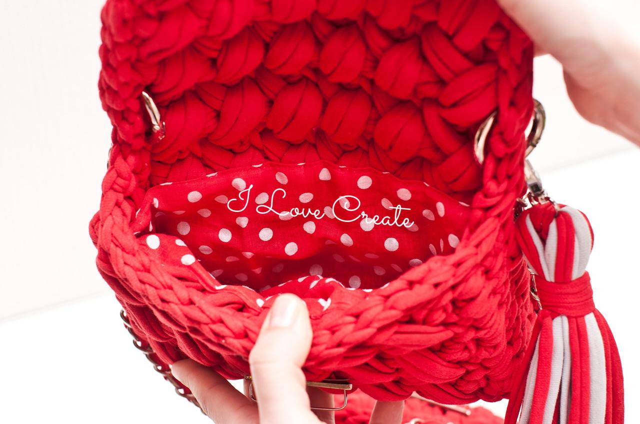720700398aa8 Вязаный клатч Zeffirka Красный мак из трикотажной пряжи: продажа ...