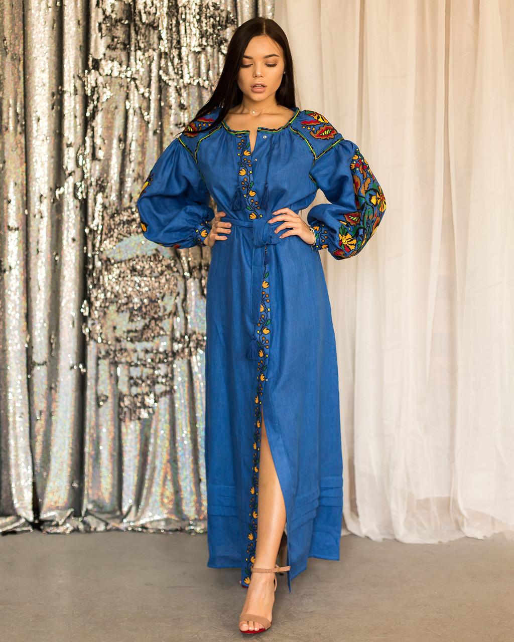 Длинное платья вышиванка в стиле Бохо Колорит
