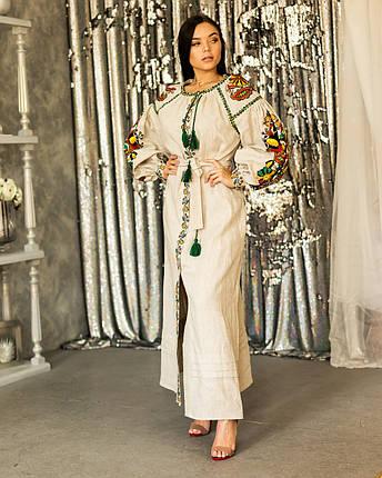 Длинное бежевое платья вышиванка Бохо Колорит, фото 2