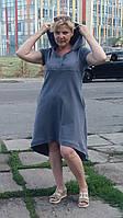 Платье женское ассиметрия с капюшоном трикотажное хлопковое Сукня жіноча асиметрія з кишенями великі розміри