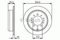 Диск тормозной TOYOTA LEXUS LX570 (URJ201), LAND CRUISER 08- задн. (пр-во Bosch)