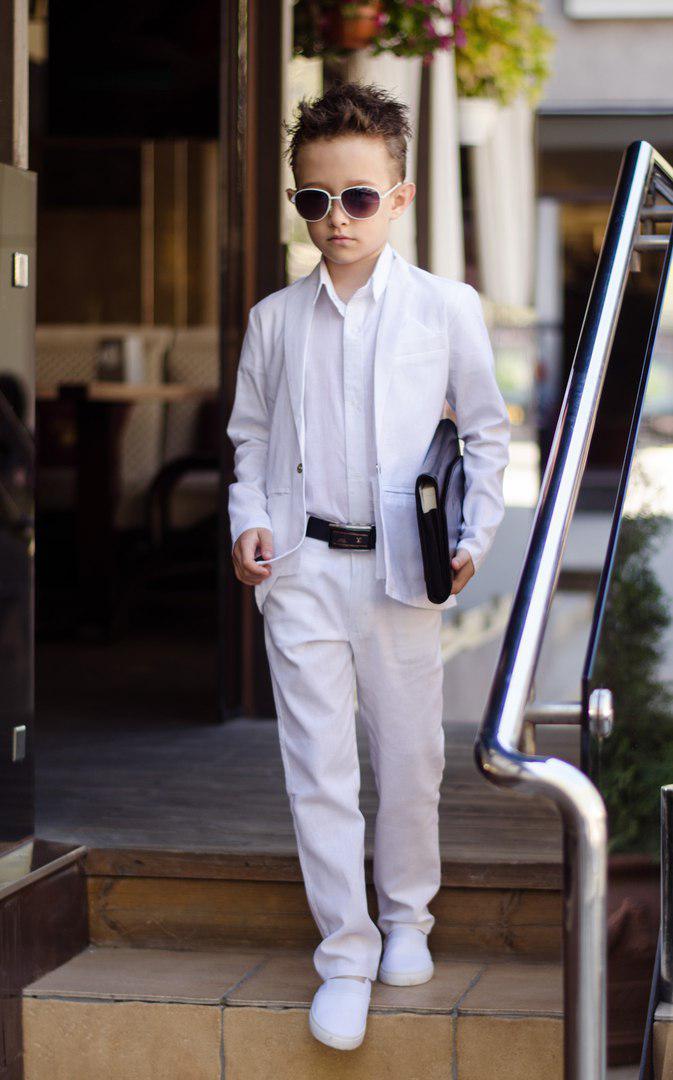 Летний классический костюм для мальчика ТРОЙКА пиджак, рубашка и брюки  арт 6214-95