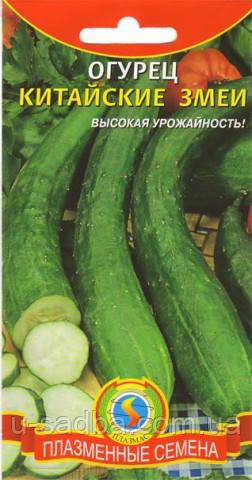 Семена огурцов Огурец Китайские змеи  12 штук  (Плазменные семена)