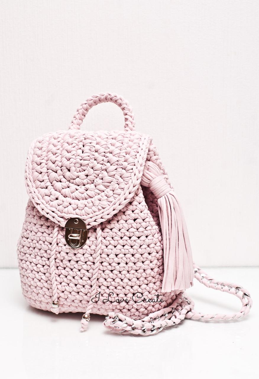 fd2884e415eb Вязаный рюкзак Cruise Розовый из трикотажной пряжи - Вязанные сумки, схемы  и видео- уроки