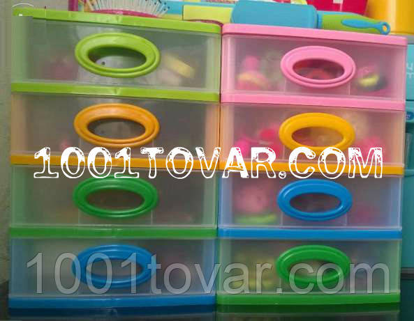 """Комод-органайзер """"Mini Medium"""", пластиковый на 4 секции разноцветный"""