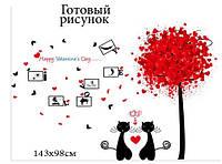 Наклейка виниловая Влюбленные Коты, фото 1