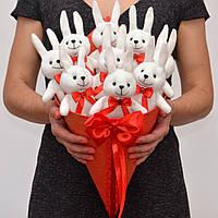 Букет из зайчиков. Оригинальный подарок девушке, ребёнку. Мягкие игрушки.