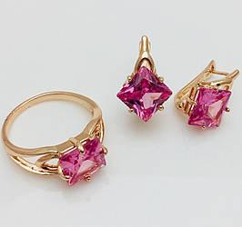 Набор с розовым камнем серьги+ кольцо размер кольца 17