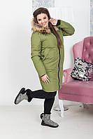 Женское зимнее пальто на синтепоне батал, фото 1