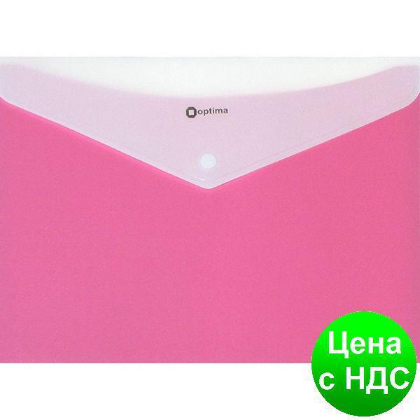 """Папка-конверт А4 непрозрачная  на кнопке Optima, 2 отделения, 180 мкм, фактура """"Вишиванка"""", розовая O35206-09"""