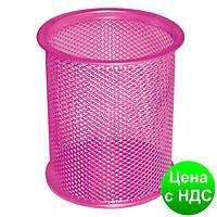 Подставка для ручек круглая Optima, d 85х100 мм, метал сетка, розовая