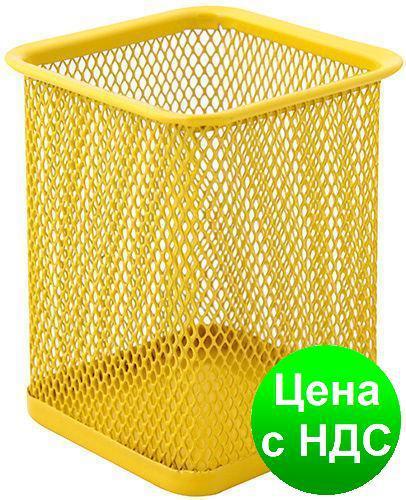 Подставка для ручек прямоуголная Optima, 80х80х100 мм, метал сетка, желтая O36302-05