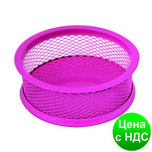 Подставка для скрепок Optima, d 95х35 мм, метал сетка, розовая O36303-09