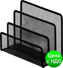 Подставка настольная на 4 отделения Optima, 85х175х140 мм, метал сетка, черная O36317-01