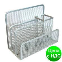 Подставка настольная на 4 отделения Optima, 85х175х140 мм, метал сетка, серебренная O36317-10