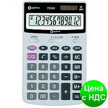 Калькулятор настольный Optima 12 разрядов, размер 174*108*27 мм O75502