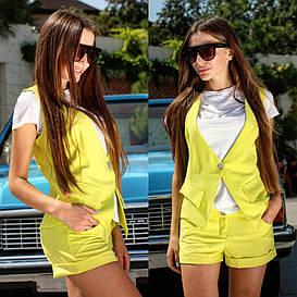 Летний костюм шорты и жилет лимонного цвета   арт 245/3-126