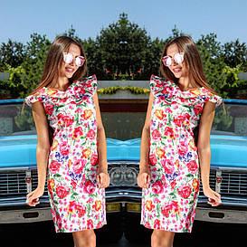 Платье рюши с цветочным принтом   арт 246/3-126