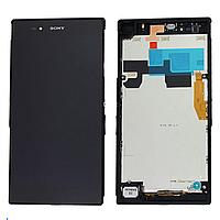 Дисплей (экран) для Sony C6833 Xperia Z Ultra с сенсором (тачскрином) и рамкой фиолетовый Оригинал